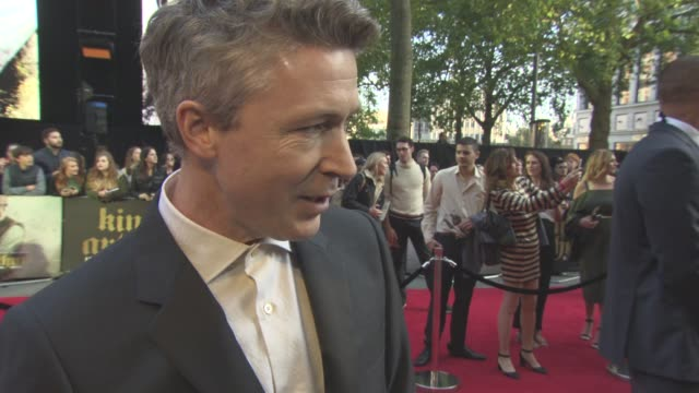 interview aidan gillen on guy ritchie as a director his directing style the films dark style at 'king arthur legend of the sword' european film... - aidan gillen stock videos & royalty-free footage
