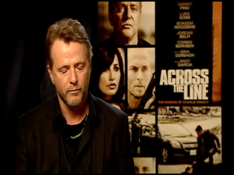aidan quinn on the theme of redemption in the film at the 'across the line the exodus of charlie wright' junket at los angeles ca - aidan quinn stock videos & royalty-free footage