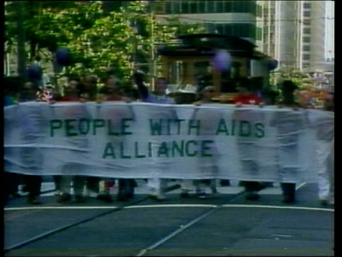 legislation proposed to ban homosexuals from donating blood lib 8783 / rr 8327 usa new york gay demonstrators towards with banner 'people with aids... - homosexual stock videos & royalty-free footage