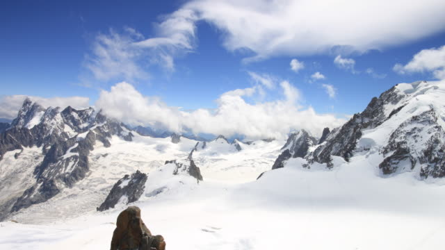 aiguille du midi view to italy 4k - mont blanc stock videos & royalty-free footage