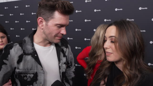 aijia lise and andy grammer at the spotify best new artist 2020 party at the lot studios on january 23, 2020 in los angeles, california. - spotify stock videos & royalty-free footage