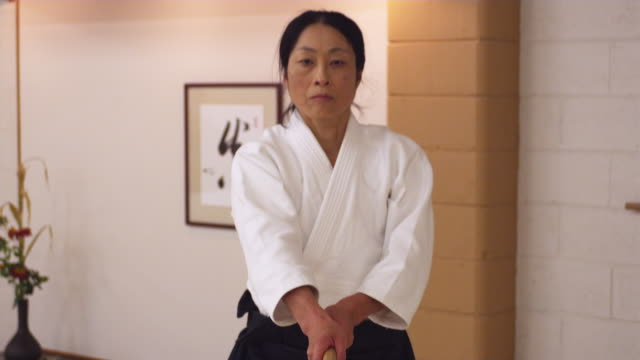 cu aikido athlete practicing with wooden sword / portland, oregon, usa - 50 54 years stock videos & royalty-free footage