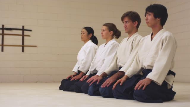 WS Aikido students line up in dojo / Portland, Oregon, USA