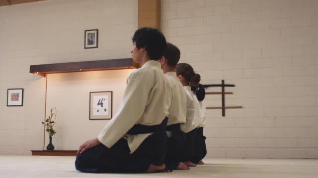 MS Aikido students line up in dojo / Portland, Oregon, USA