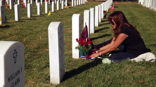 aileen lucas visits the grave of her husband us marine corps major christopher lucas on veterans day in section 60 of arlington national cemetery... - リース点の映像素材/bロール
