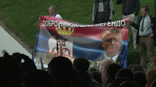 ailing serb ultranationalist leader vojislav seselj arrived in belgrade on wednesday after being released by the un yugoslav war crimes tribunal to... - yugoslav wars stock videos & royalty-free footage