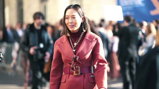 aimee song wears a red blazer jacket, a large belt, a lady dior snake print bag, a pink pleated skirt, outside dior, during paris fashion week... - street style stock videos & royalty-free footage