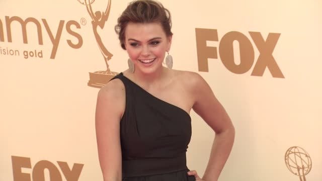 aimee teegarden at the 63rd primetime emmy awards arrivals part 1 at los angeles ca - 63rd annual primetime emmy awards stock videos and b-roll footage