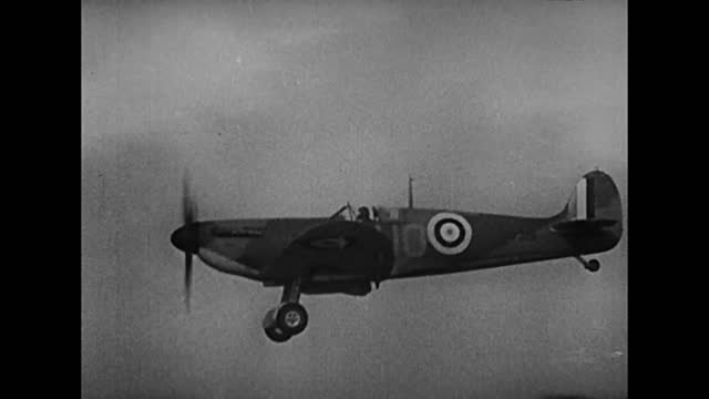 spitfires fighting german dive bombers and returning back to the air base - air force stock videos & royalty-free footage