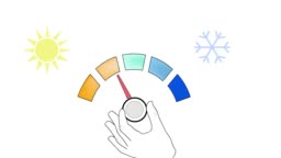 air conditioning adjustment. cold-heat adjustment. from heat to cold. video.