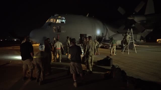 us air force ac130w stinger ii and aircrew from the 16th expeditionary special operations squadron launches to provide close air support for the... - syrian democratic forces stock videos & royalty-free footage