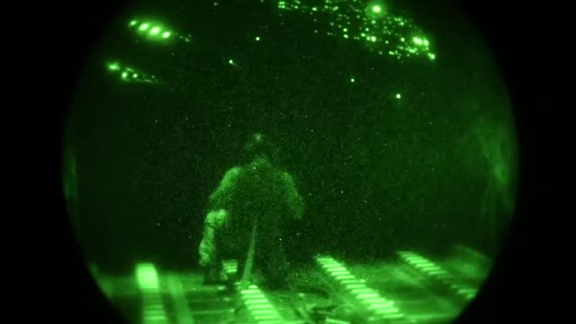 a us air force aircrew conduct airdrop operations from a c130 hercules over qatar in support of operation inherent resolve on 6th november 2018 - us airforce stock videos & royalty-free footage