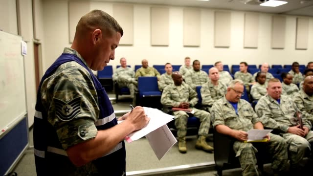 us air force airmen assigned to the south carolina air national guard's 169th fighter wing go through various predeployment processing stations at... - national guard stock videos and b-roll footage