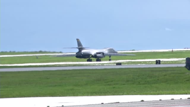 air force b-1b lancer from the 37th expeditionary bomb squadron, ellsworth air force base, south dakota, taking off from the flight line at andersen... - guam video stock e b–roll