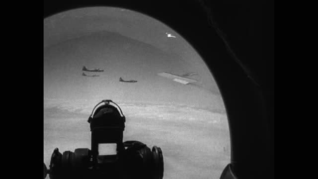 air force b-29 bombers flying, seen through gunner's bubble, korean war - aircraft point of view stock videos & royalty-free footage