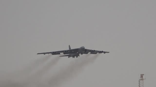 us air force b52h stratofortresses assigned to 20th expeditionary bomb squadron taxis for take off from al udeid air base qatar on 12 may 2019 - b rolle stock-videos und b-roll-filmmaterial