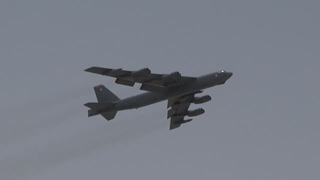 air force b-52h stratofortresses assigned to 20th expeditionary bomb squadron taxis for take off from al udeid air base, qatar on 12 may 2019. - bomber plane stock videos & royalty-free footage