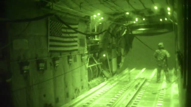 a us air force c130 hercules conducts an operational resuppy airdrop near bayji iraq oct 11 2014 the c130 dropped 14 container delivery system... - us air force stock videos & royalty-free footage