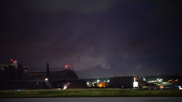us air force c130 hercules departs from andersen air force base guam at night - us airforce stock videos & royalty-free footage