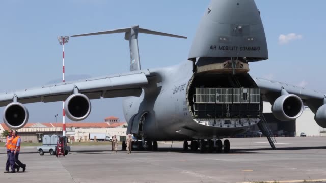 air force c5 galaxy aircraft landing in sigonella ahead of g7 summit - g force stock videos & royalty-free footage