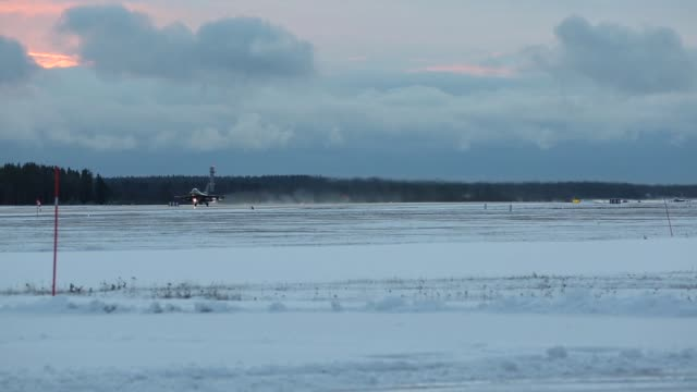 us air force f16 fighting falcon jets take off from kallax air base sweden during nato exercise trident juncture 2018 - afterburner stock videos and b-roll footage