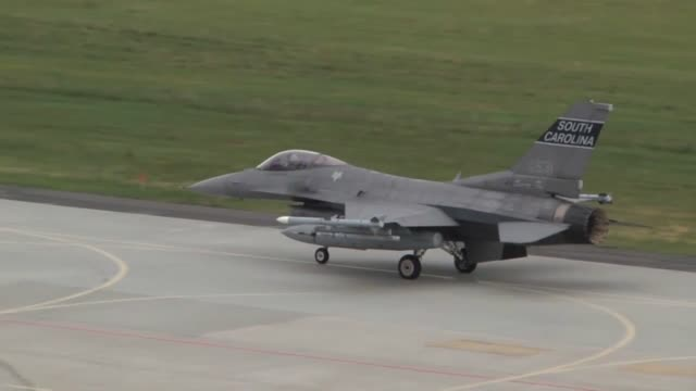 air force f16 fighting falcons along with their polish counterparts, take off in support of nato exercise ramstein guard, june 18, 2015. forces from... - operation atlantic resolve stock videos & royalty-free footage