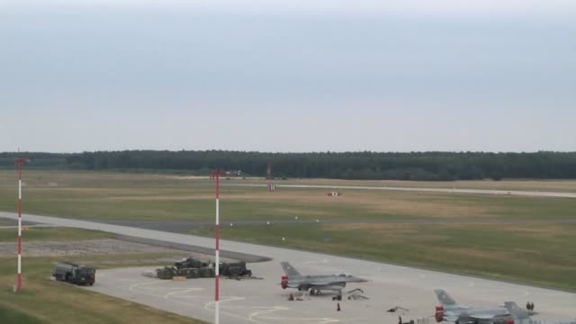 air force f16 fighting falcons along with their polish counterparts take off in support of nato exercise ramstein guard june 18 2015 forces from the... - operation atlantic resolve stock videos & royalty-free footage