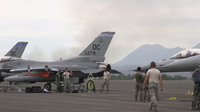 us air force f16 fighting falcons and philippine air force fa50s landing at cesar basa air base philippines during the bilateral air contingent... - general dynamics f 16 falcon stock videos & royalty-free footage