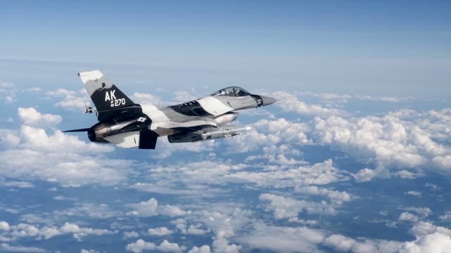 us air force f16 fighting falcon's from aggressor squadron participate in red flag alaska192 at eielson air force base alaska - us air force stock videos & royalty-free footage