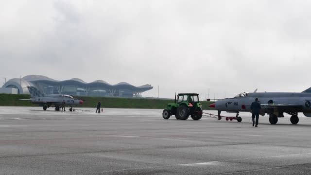 us air force f16's launch and recover in zagreb croatia with croatian air force mig 21's - zagreb stock videos and b-roll footage