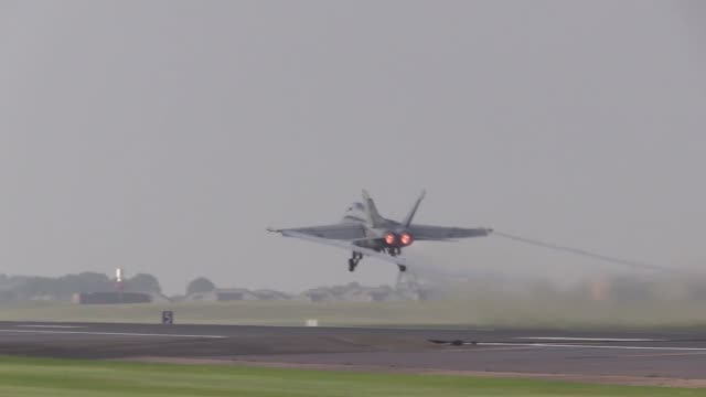 us air force f/a18's conduct dissimilar air combat training at royal air force lakenheath uk - afterburner stock videos and b-roll footage