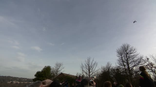 us air force flypast over sheffield to mark 75th anniversary of wwii crash england sheffield endcliffe park ext ground to air shots of us fighter... - sheffield stock videos and b-roll footage