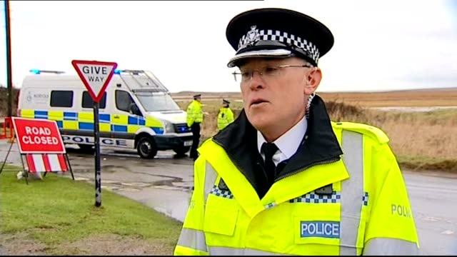 crash scene / police interview england norfolk cleynextthesea ext police officer standing / police officer and police van near 'road closed' sign /... - norfolk england stock videos & royalty-free footage