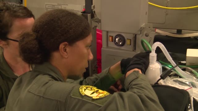 a us air force humanitarian airlift aeromedical evacuation mission took place at the direction of us southern command to assist the government of... - emt unloading stock videos & royalty-free footage