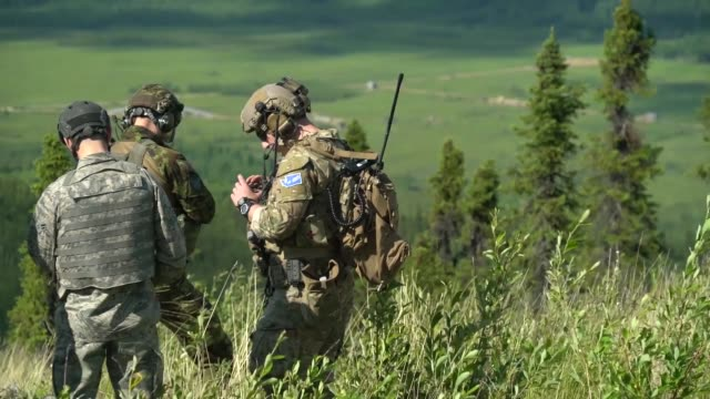 air force joint terminal attack controllers conduct a close air support training mission with a-10 thunderbolt ii's at eielson air force base,... - 連隊点の映像素材/bロール
