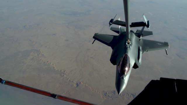 air force kc-10 extender conducts aerial refueling missions with f-35 lightning's above al dhafra air base, united arab emirates in support of... - air force stock videos & royalty-free footage