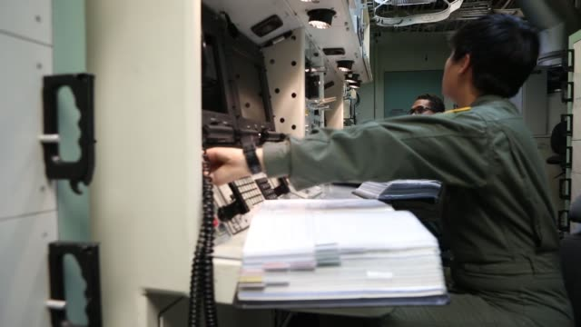 us air force missile combat crew missileers conduct operational checks and procedures training at launch control center francis e warren air force... - threats stock videos and b-roll footage