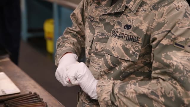 air force non-destructive inspection team carry out non-destructive inspections to find defects on metal components of the b-52 stratofortress not... - lubrication stock videos & royalty-free footage