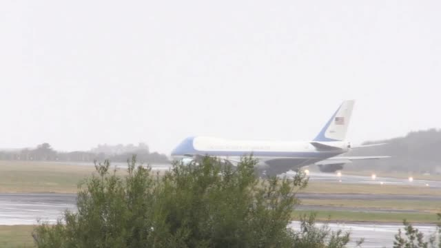 Air Force One takes off from Prestwick Airport in Ayrshire as US President Donald Trump and his wife Melania leave the UK for Finland where the US...