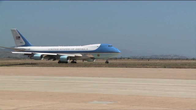 Air Force One Transports President Obama During a Trip to California