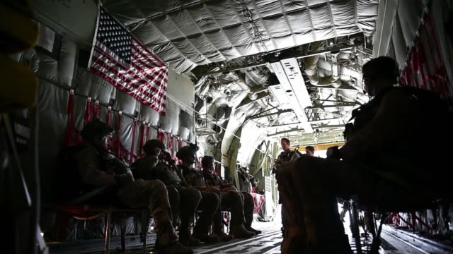 us air force pararescuemen assigned to the 83rd expeditionary rescue squadron at bagram airfield afghanistan conduct a training jump out of a 774th... - bagram video stock e b–roll