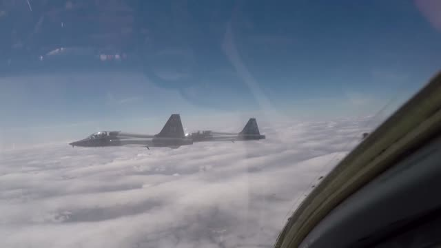 US Air Force pilots assigned to the 560th Flying Training Squadron fly T38C Talons in formation for the 45th Freedom Flyer Reunion over Joint Base...