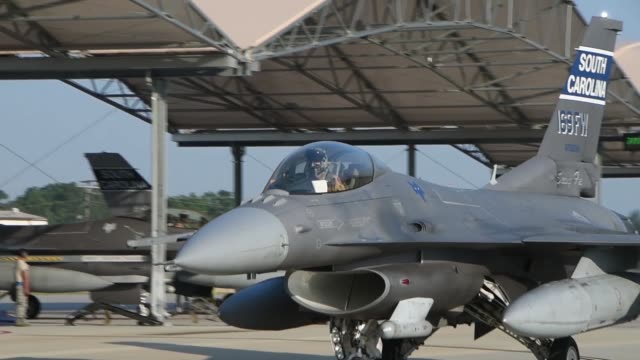 us air force pilots from the 157th fighter squadron at mcentire joint national guard base south carolina air national guard launch f16 fighting... - general dynamics f 16 falcon stock videos & royalty-free footage