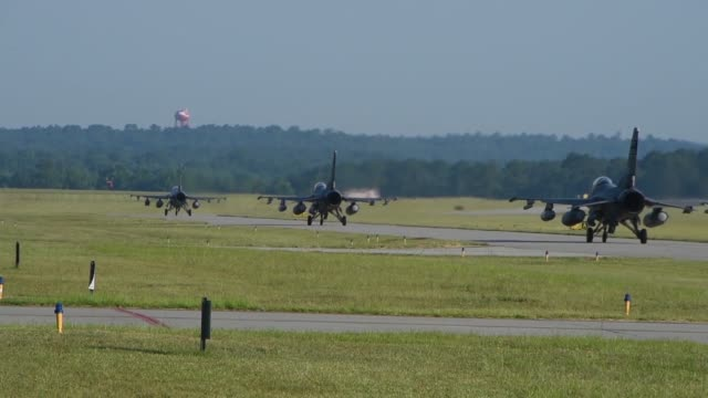 us air force pilots from the 157th fighter squadron at mcentire joint national guard base south carolina air national guard launch f16 fighting... - us airforce stock videos & royalty-free footage