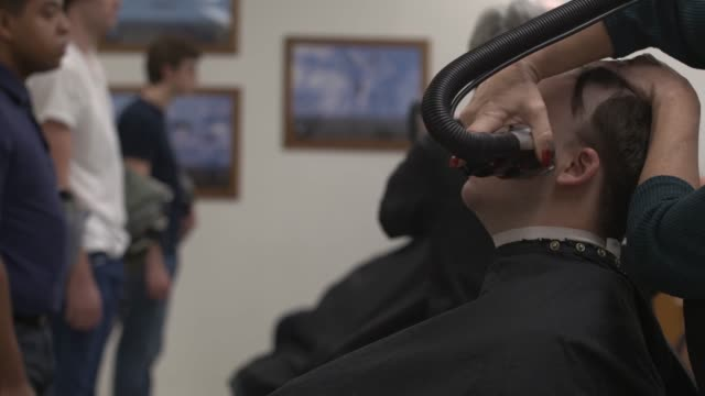 us air force recruits get their first haircuts during basic military training at joint base san antoniolackland texas - military recruit stock videos & royalty-free footage