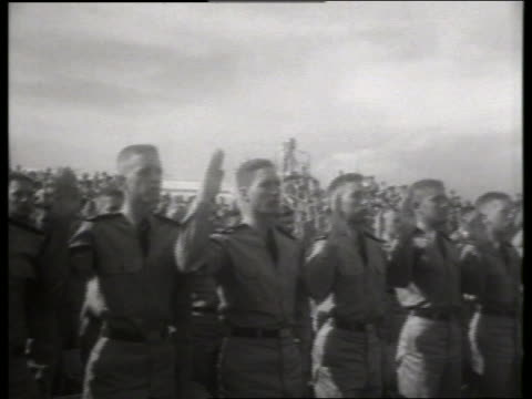 B/W PAN of Air Force recruits taking oath at ceremony / Lowry Air Force Base, Denver / 1950's / SOUN