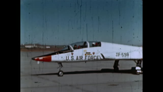 1960 us air force t38 jets take off, mid air and landing - luftwaffe stock-videos und b-roll-filmmaterial