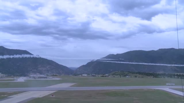 us air force thunderbirds f16 demonstration team fly over hill afb utah practicing various maneuvers in preparation for the warriors over the wasatch... - thunderbirds stock videos and b-roll footage