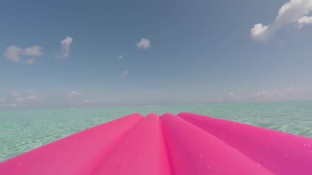 air mattress on the sea - inflatable stock videos & royalty-free footage