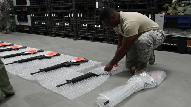 us air national guard logistics readiness squadron pack and prepare items for shipping at ramstein air base germany june 115 2019 - cargo container stock videos & royalty-free footage
